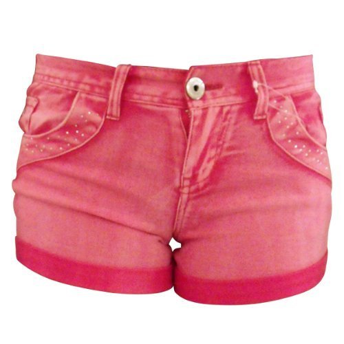 Damen Sexy Denim Hot Pants Strasssteine Shorts - Fuchsien Rosa, 34-36