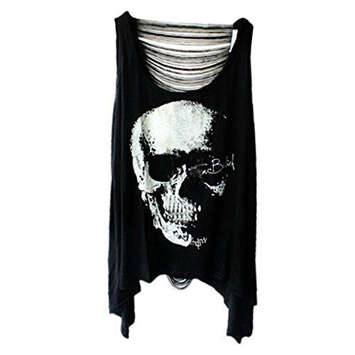 Damen Sexy Skull Schädel Punk Tassel T-Shirt Ärmellos schwarz Shirt Tops Tank (Schwarz)