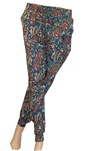 Damen Stretch Sommerhosen Strandhose Pumphose Pluderhose Freizeithose Boho Style Stoffhose Hippie Hose Schlupfhose mit breit elastischem Gummizug und Eingrifftaschen, Farbe:Bunt 14