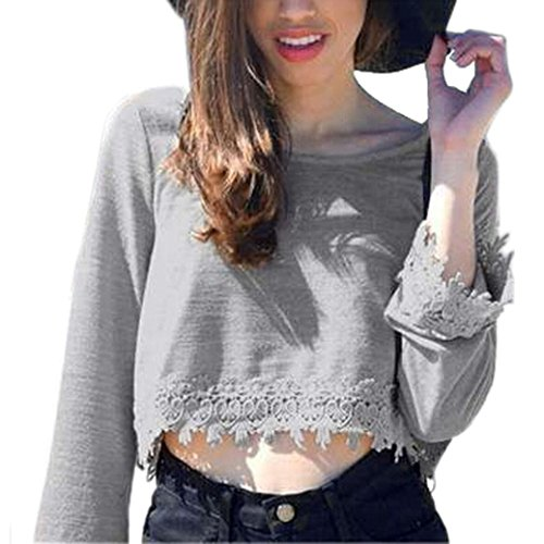 Damen Sweatshirt DDLBiz® Frauen Pullover lässig Lace rückenfreie T-Shirt Bluse Tops (M)