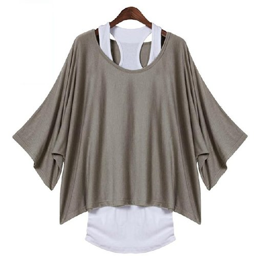 Damen 2 in 1 Stil neue heisse lose Fluegeloberseiten Blusen-T-Shirt fit UK Groesse 8-18-L (grau)