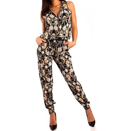 Damen Zipper Overall Jumpsuit Pump, Farbe:Mehrfarbig/Model9;Größe:34/36/38