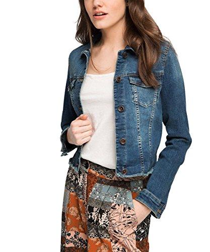 ESPRIT Damen Jeansjacke Jacke modisch, Gr. 40 (Herstellergröße: L), Blau (BLUE MEDIUM WASH 902)