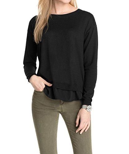 ESPRIT Damen Pullover 995EE1I901, Einfarbig, Gr. 38 (Herstellergröße: M), Schwarz (BLACK 001)