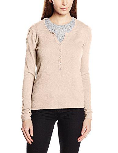 ESPRIT Damen, Pullover, Henley Sweater, GR. 40 (Herstellergröße:Large), Beige