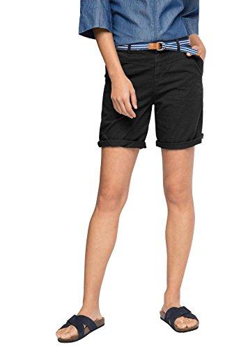 ESPRIT Damen Short 056EE1C006-mit Gürtel, Schwarz (Black 001), 38