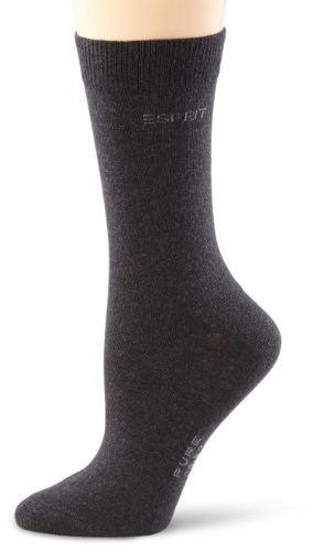 ESPRIT Damen Socken 19500 Basic Pure SO, Gr. 35-38, Grau (anthra.mel 3080)