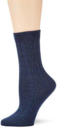 ESPRIT Damen Socken Plait Pattern, Gr. 35/38, Blau (navy meliert 6127)