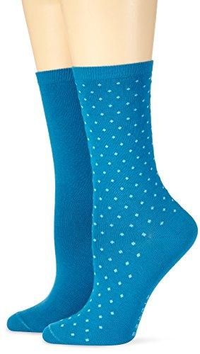 ESPRIT Damen Strick Socken Fine Dot, Gr. 39/42, Blau (aqua 6927)