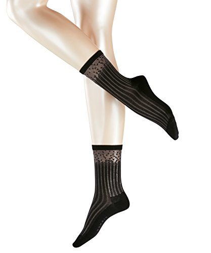 ESPRIT Damen Strick Socken Patel Stripe, Gr. 39/42, Schwarz (black 3000)