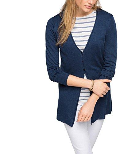 ESPRIT Damen Strickjacke länger geschnitten, Gr. 38 (Herstellergröße: M), Blau (NAVY 5 404)
