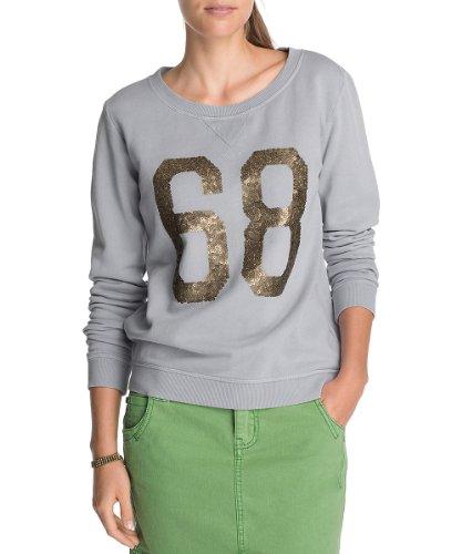 ESPRIT Damen Sweatshirt Q21709, Gr. 34 (XS), Grau (silver grey melange 041)