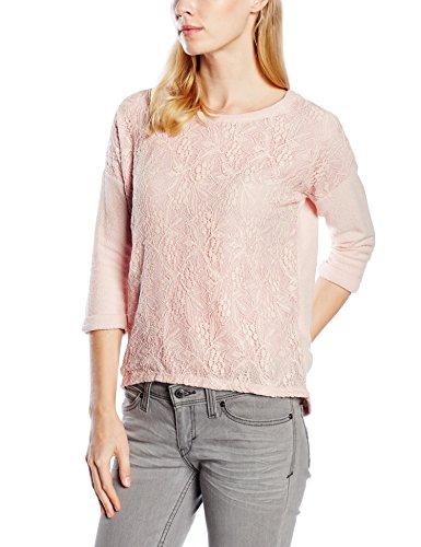 ESPRIT Damen Sweatshirt mit Spitze, Gr. 40 (Herstellergröße: L), Rosa (BLUSH 665)