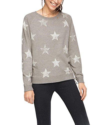 ESPRIT SPORTS Damen Sport Sweatshirt Baumwoll - Mix mit Sternen sportiv, Gr. 36 (Herstellergröße: S), Grau (LIGHT GREY 3 042)