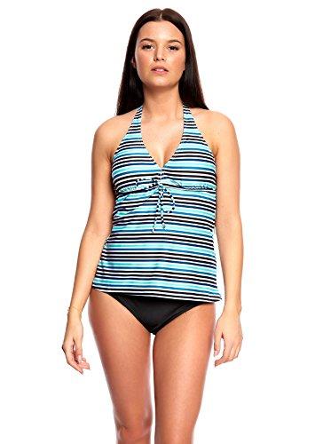 Octopus Beachwear Damen Tankini Blue striped, Briefs Black