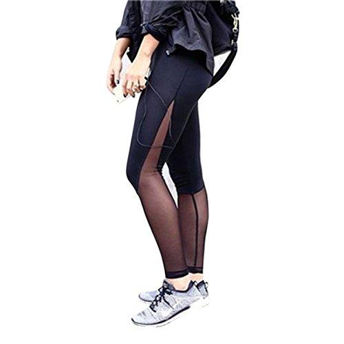 Encounter Klassisch Strumpfhosen Dünn mit Chiffon Tüll Aktive Yoga-Sport-Hosen Workout Leggings Sport Hosen-Capri YOGA Leggings (S, Schwarz)