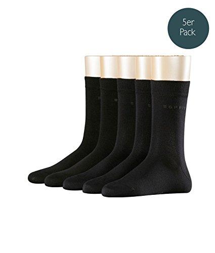 ESPRIT Damen Socken Uni 5er Pack, NA, 5er Pack, Schwarz (Black 3000), 36/41