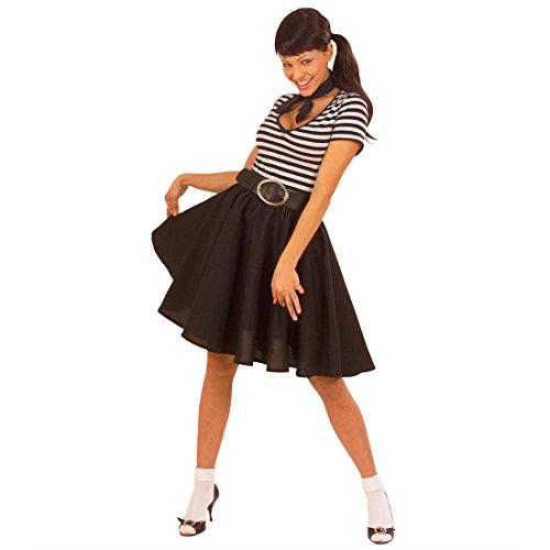 Fifties Rock Rock n Roll Tellerrock schwarz 50er 60er Jahre Petticoat Rockabilly Damenrock Grease Unterrock Mottoparty Kostüm Zubehör