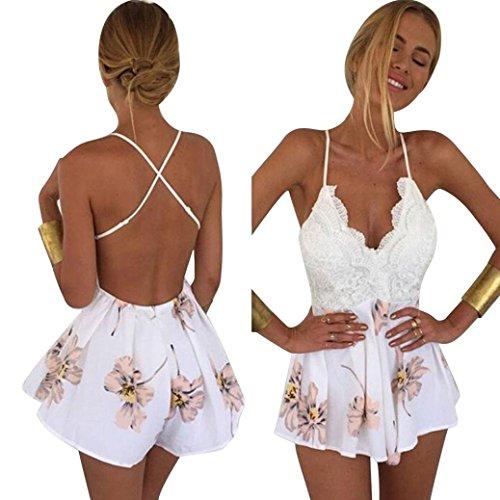 Fortan 2016 Frauen-reizvolle weiße V-Ausschnitt Blumenspitze Chiffon Bodycon Jumpsuit (EU=36)
