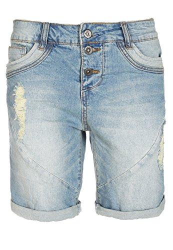 Fresh Made Boyfriend Jeans | Jeans-Shorts Used Look für Damen - Top Qualität und Tragekomfort dank hohem Baumwollanteil light-blue S
