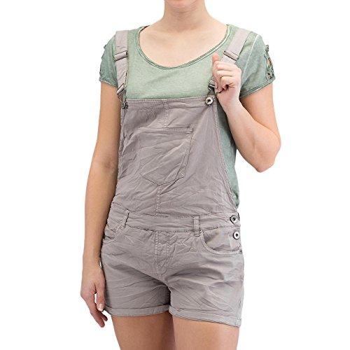 Fresh Made Kurze Latzhose für Damen | Stylische Latzshorts mit viel Stretch für mehr bequemlichkeit middle grey S