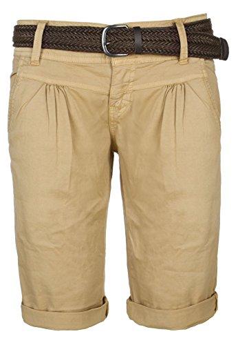 Fresh Made Sommer-Hose Bermuda-Shorts für Frauen | kurze Chino-Hose mit Flecht-Gürtel | Basic Shorts aus Baum-Wolle middle-beige M