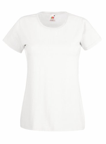 Fruit Of The Loom Lady-Fit Valueweight Damen T-Shirt (M) (Weiß) M,Weiß