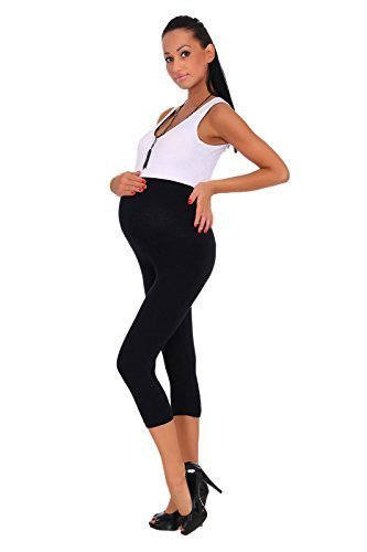 Futuro Fashion - Schwangerschaft Leggings Kurz 3/4 Länge Baumwolle Sehr Komfortabel - 44/46, Schwarz