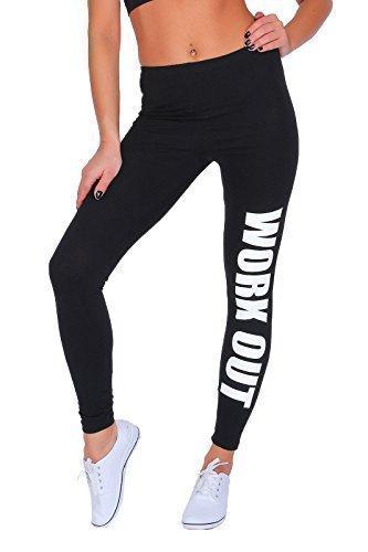Futuro Fashion Workout Bedruckt Gesamtlänge Baumwolle Active Leggings Jogginghose Fitnessstudio Fitness - Schwarz, 36