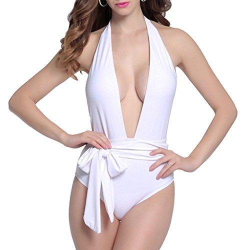 GWELL Damen Elegant Einteiler Push Up Tief V-schnitt Badeanzug Schwimmanzug Bademode weiß S