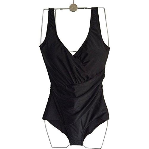 GWELL Damen Elegant Übergröße Einteiler Push Up V-schnitt Badeanzug Schwimmanzug Bademode schwarz 2XL