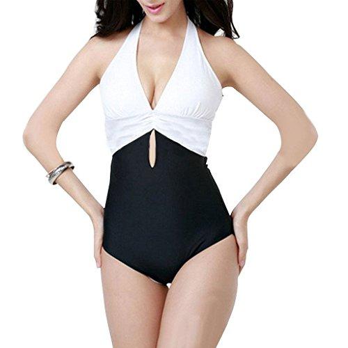 GWELL Damen Halter V-Schnitt Rückfrei Einteiler Push Up Badeanzug Schwimmanzug Bademode weiß XL