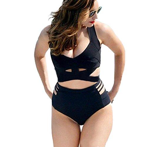 GWELL Damen Plus Size Bandage Hohe Taille Push-up-Bikinis Gepolsterter BH Badeanzug Badebekleidung 3XL