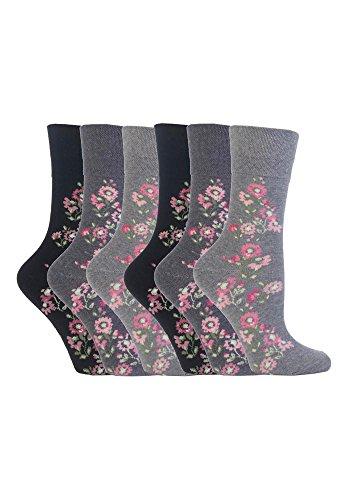 Gentle Grip - 6 Paar Damen Gesundheitssocken Diabetiker Druckfreie Spitze Handgekettelt Baumwollanteil Blumen Socken 37-42 EUR (GG45)