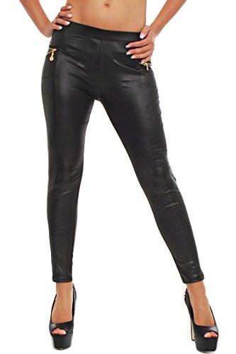 Glanz Matt Leggings in Latex Leder Optik in Schwarz mit Reißverschluß, lang, Röhren Hose, M/L