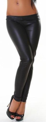 Jela London Damen Gogo Leggings lang in Leder-Optik Gr. 34, schwarz - schwarz