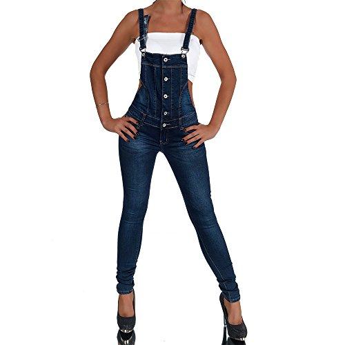 H454 Damen Jeans Hose Hüfthose Damenjeans Hüftjeans Röhrenjeans Röhre Latzhose, Farben:Blau;Größen:42 (XL)