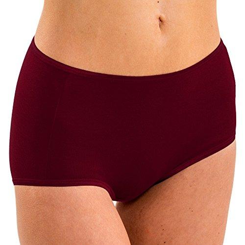 HERMKO 1150 4er Pack Damen Maxi-Slip mit elastischen Abschlüssen aus 100% Baumwolle, Farbe:bordeaux, Größe:36/38 (S)