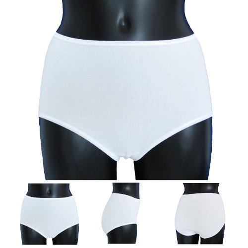 HERMKO 1150 Damen Taillenslip mit elastischen Abschlüssen aus 100% Baumwolle, Farbe:weiß, Größe:56/58 (XXXL)