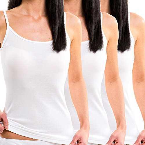 HERMKO 1560 3er Pack Damen Träger Top aus 100 % Baumwolle, Farbe:weiß, Größe:40/42 (M)
