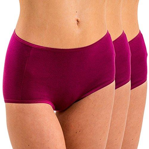 HERMKO 17011 3er Pack Damen Maxi-Slip aus Baumwolle/Modal , Größe:44/46 (L), Farbe:fuchsia