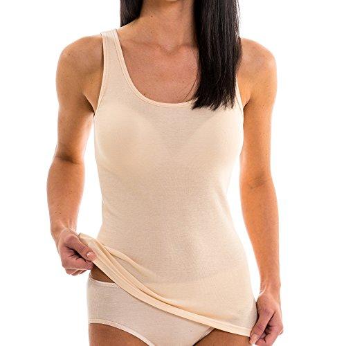 HERMKO 17310 Damen Tank Top aus europäischer Baumwolle + europäischem Modal (Buchenholzfaser) women Shirt Unterhemd ÖKO-Tex 100, Farbe:cream (hautfarben);Größe:D 36/38 = EU S