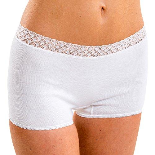 HERMKO 17904610 Damen Pant mit Spitze, Farbe:weiß, Größe:40/42 (M)