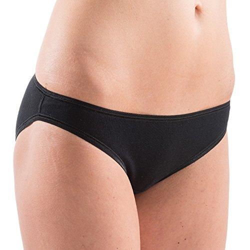 HERMKO 5032 Damen Bikini-Slip aus feinem Baumwolle / Elastan pflegeleicht und trocknergeeignet Mini-Slip for women Rio-Slip, Farbe:schwarz;Größe:D 36/38 = EU S