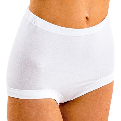 HERMKO 5160 Damen Taillenslip extra hoch aus Baumwolle / Elastan, Farbe:weiß, Größe:48/50 (XL)