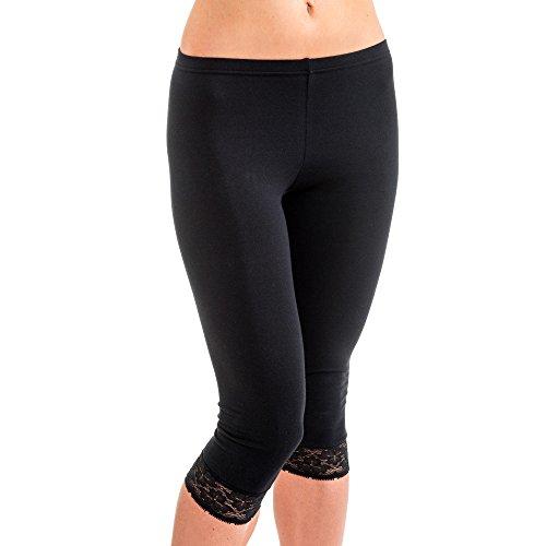 HERMKO 5722 Damen Capri-Leggings mit Spitze, Farbe:schwarz, Größe:44/46 (L)