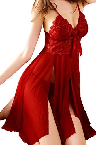 HO-Ersoka Damen Babydoll Negligee geschlitzt aus Spitze Tüll und Satin inkl. String rot