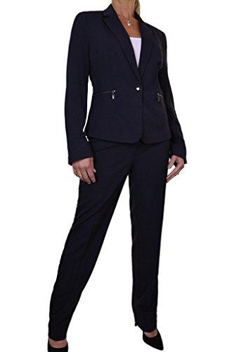 ICE (6473-2) Reißverschluss Gefüttert Blazer-Jacken-Hosen-Anzug Blau (42)