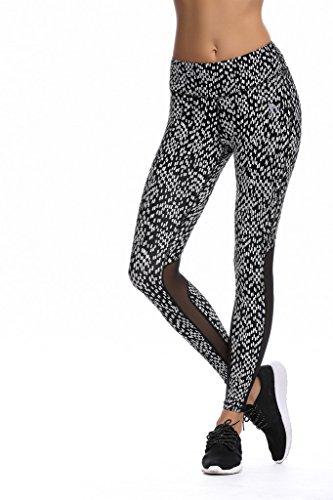 JIMMY DESIGN Damen Fitness Legging - Weiß Punkt - L