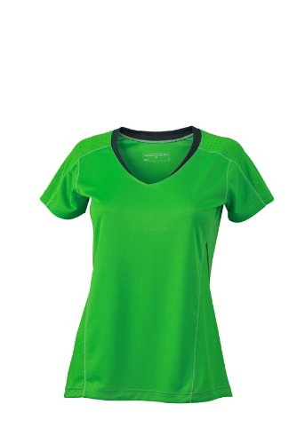 James & Nicholson Damen T-Shirt Ladies Running T-Shirt Large Green/Iron Grey